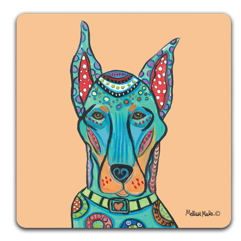 """Doberman Full Face"" Drink Coasters by Mellissa Meeks"