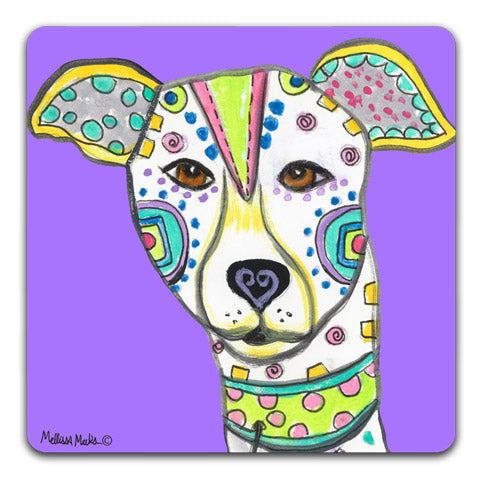 """Greyhound Full Face"" Drink Coasters by Mellissa Meeks"
