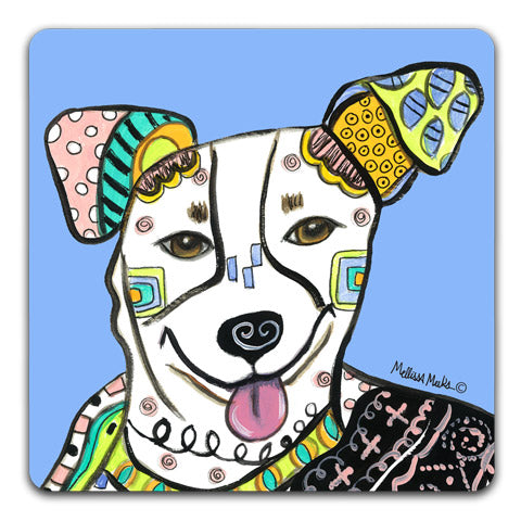 """Jack Russell Terrier Full Face"" Drink Coasters by Mellissa Meeks"