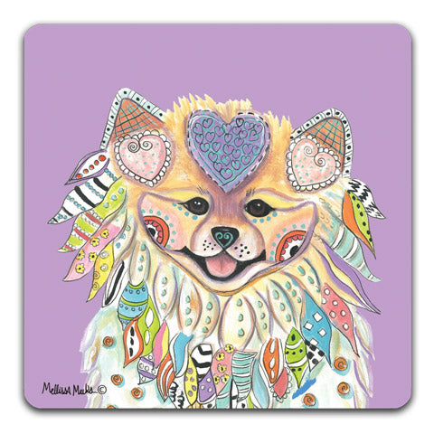 """Pomeranian Full Face"" Drink Coasters by Mellissa Meeks"