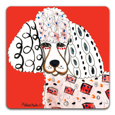 """Poodle Full Face"" Drink Coasters by Mellissa Meeks"