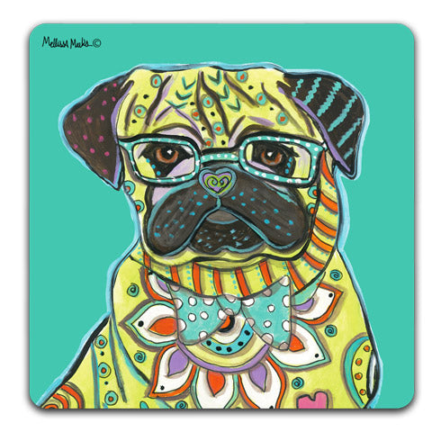 """Pug Full Face"" Drink Coasters by Mellissa Meeks"