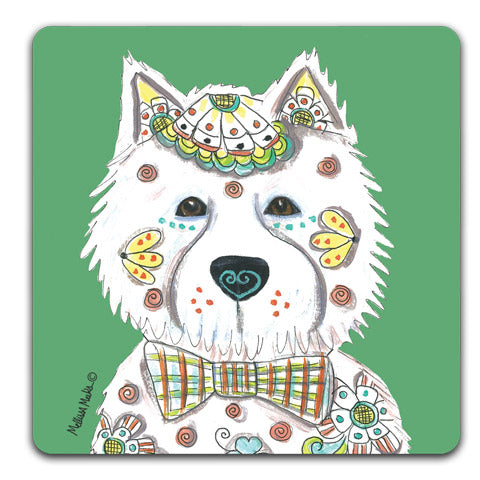 """West Highland Terrier Full Face"" Drink Coasters by Mellissa Meeks"