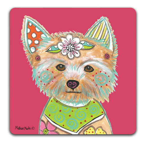 """Yorkshire Terrier Full Face"" Drink Coasters by Mellissa Meeks"