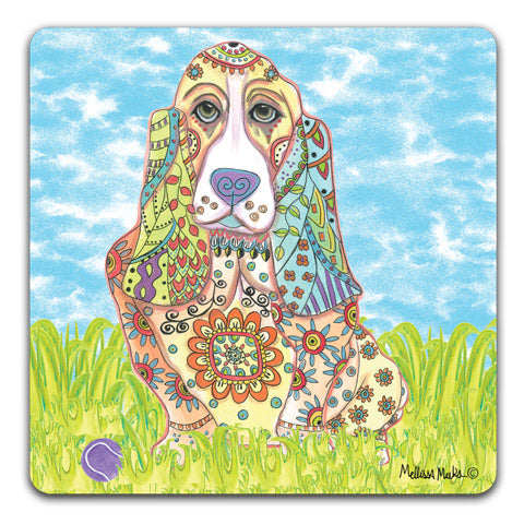 """Basset Hound at the Park"" Drink Coasters by Mellissa Meeks"