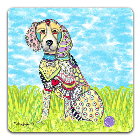 """Beagle at the Park"" Drink Coasters by Mellissa Meeks"