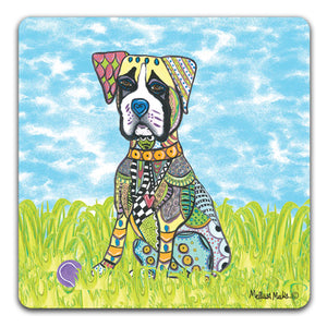 MM1-353-Boxer-in-grass-with-ball-Rubber-Tabletop-Car-Coaster-by-Mellissa-Meeks-and-CJ-Bella-Co