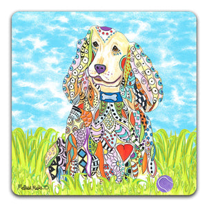 MM1-360-Cocker-Spaniel-with-ball-in-grass-Rubber-Tabletop-Car-Coaster-by-Mellissa-Meeks-and-CJ-Bella-Co