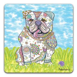 MM1-381-Bulldog-in-grass-with-ball-Rubber-Tabletop-Car-Coaster-by-Mellissa-Meeks-and-CJ-Bella-Co
