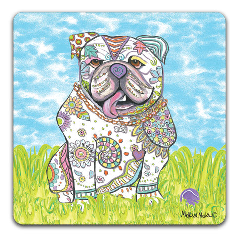 """English Bulldog at the Park"" Drink Coasters by Mellissa Meeks"