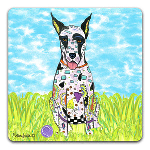 MM1-396-Great-Dane-in-grass-with-ball-Rubber-Tabletop-Car-Coaster-by-Mellissa-Meeks-and-CJ-Bella-Co