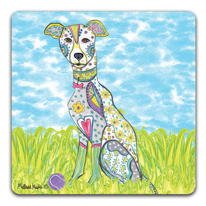 MM1-401-Greyhound-in-grass-with-ball-Rubber-Tabletop-Car-Coaster-by-Mellissa-Meeks-and-CJ-Bella-Co