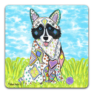 MM1-404-Husky-in-grass-with-ball-Rubber-Tabletop-Car-Coaster-by-Mellissa-Meeks-and-CJ-Bella-Co