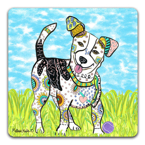 """Jack Russell Terrier at the Park"" Drink Coasters by Mellissa Meeks"