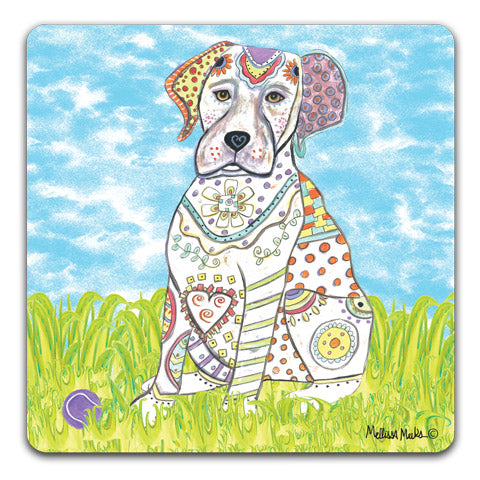 """Labrador Retriever at the Park"" Drink Coasters by Mellissa Meeks"