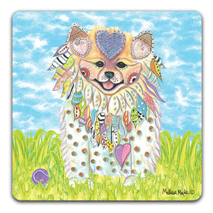 MM1-424-Pomeranian-in-grass-with-ball-Rubber-Tabletop-Car-Coaster-by-Mellissa-Meeks-and-CJ-Bella-Co