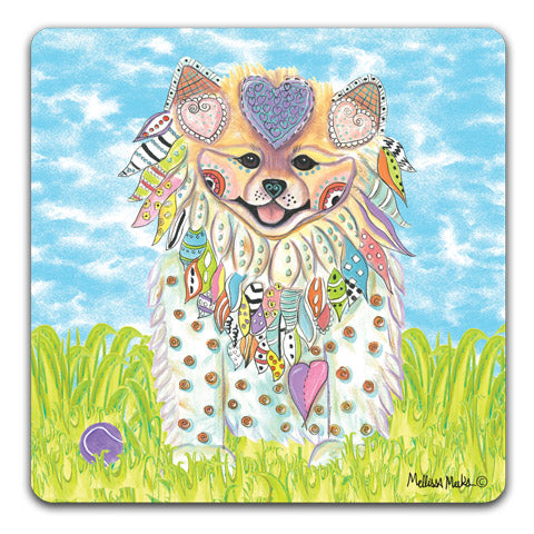 """Pomeranian at the Park"" Drink Coasters by Mellissa Meeks"