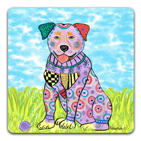 """Rottweiler at the Park"" Drink Coasters by Mellissa Meeks"