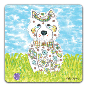 """West Highland Terrier at the Park"" Drink Coasters by Mellissa Meeks"