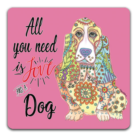"""Basset Hound All You Need is Love"" Drink Coasters by Mellissa Meeks"