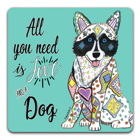 """Husky All You Need is Love"" Drink Coasters by Mellissa Meeks"