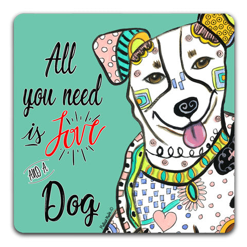 """Jack Russell Terrier All You Need is Love"" Drink Coasters by Mellissa Meeks"