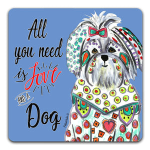 MM1-740 Love-Dog-Maltese-Rubber-Tabletop-Car-Coaster-by-Mellissa-Meeks-and-CJ-Bella-Co