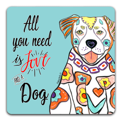 """Pit Bull All You Need is Love"" Drink Coasters by Mellissa Meeks"