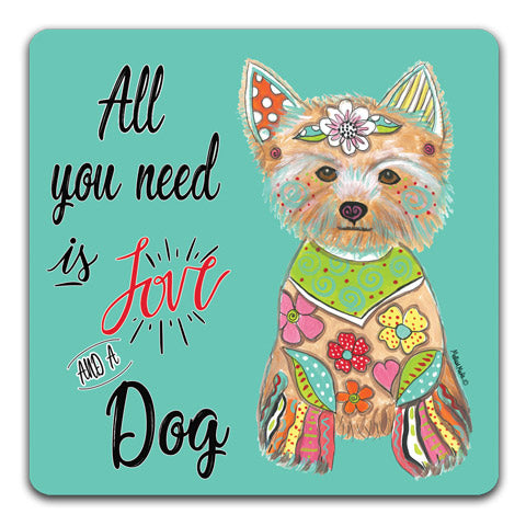 """Yorkshire Terrier All You Need is Love"" Drink Coasters by Mellissa Meeks"