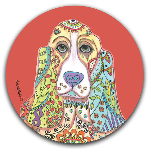"""Basset Hound Full Face"" Car Coaster by Mellissa Meeks"