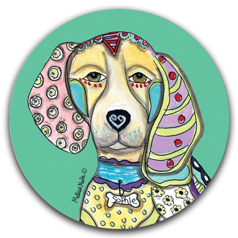 """Beagle Full Face"" Car Coaster by Mellissa Meeks"