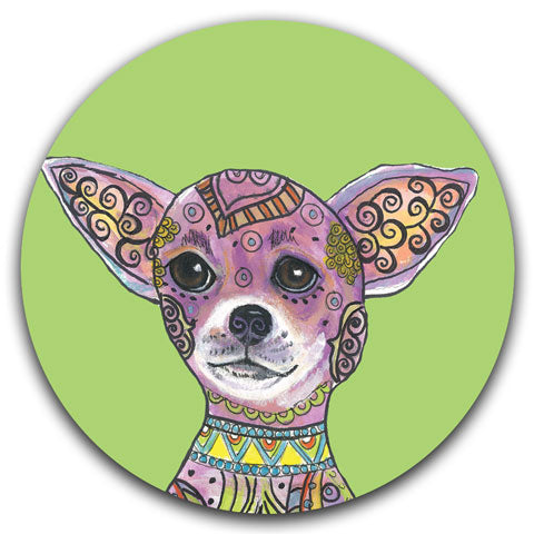 """Chihuahua Full Face"" Car Coaster by Mellissa Meeks"