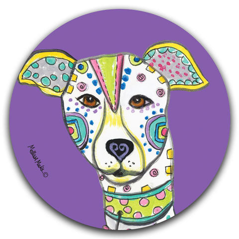 """Greyhound Full Face"" Car Coaster by Mellissa Meeks"