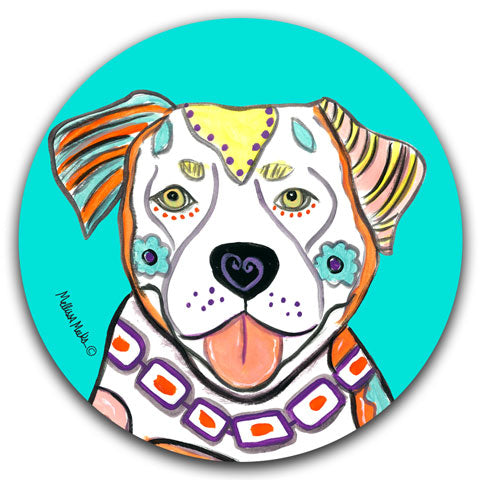 """Pit Bull Full Face"" Car Coaster by Mellissa Meeks"