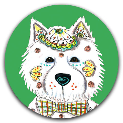"""West Highland Terrier Full Face"" Car Coaster by Mellissa Meeks"
