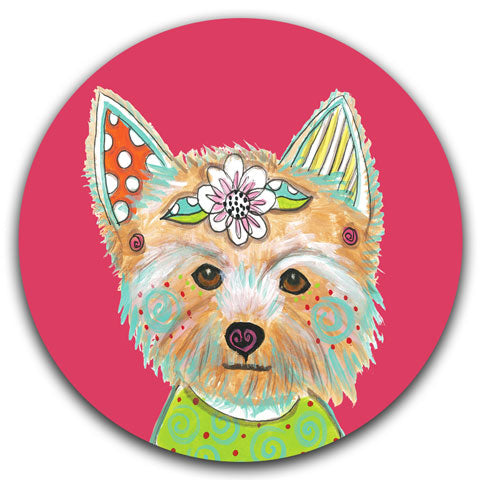 """Yorkshire Terrier Full Face"" Car Coaster by Mellissa Meeks"