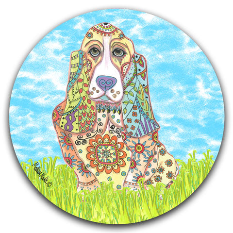 MM2-346-Dog-Grass-Bassett-Hound-Car-Coaster-Melissa-Meeks-and-CJ-Bella-Co