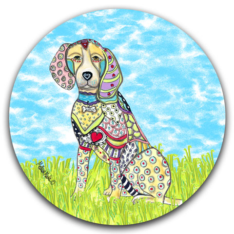 """Beagle at the Park"" Car Coaster by Mellissa Meeks"