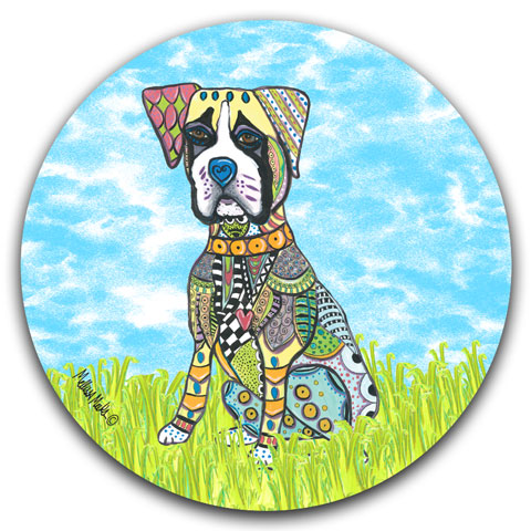 """Boxer at the Park"" Car Coaster by Mellissa Meeks"