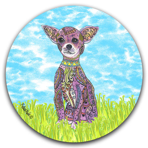 """Chihuahua at the Park"" Car Coaster by Mellissa Meeks"