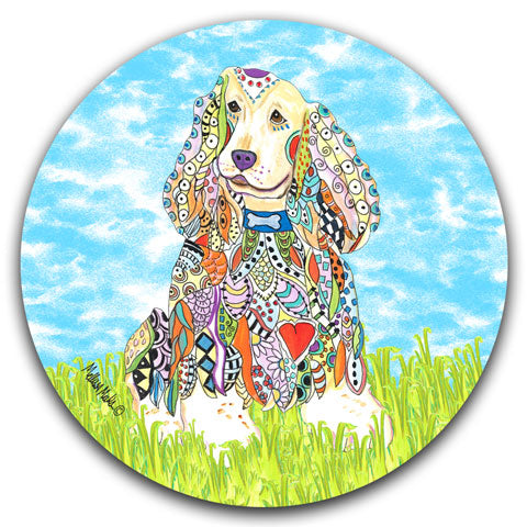 """Cocker Spaniel at the Park"" Car Coaster by Mellissa Meeks"
