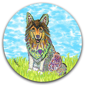 MM2-364-Dog-Grass-Collie-Car-Coaster-Melissa-Meeks-and-CJ-Bella-Co