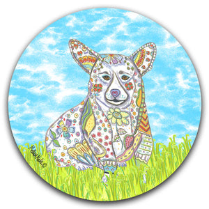 MM2-368-Dog-Grass-Sky-Corgi-Car-Coaster-Melissa-Meeks-and-CJ-Bella-Co