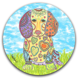 MM2-372-Grass-Sky-Dog-Dachshund-Car-Coaster-Melissa-Meeks-and-CJ-Bella-Co
