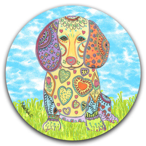"""Dachshund at the Park"" Car Coaster by Mellissa Meeks"