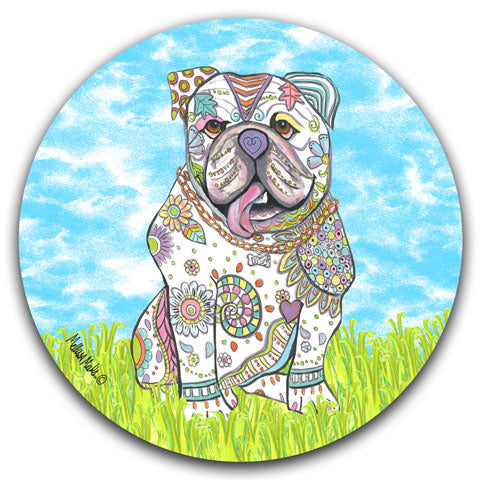 """English Bulldog at the Park"" Car Coaster by Mellissa Meeks"