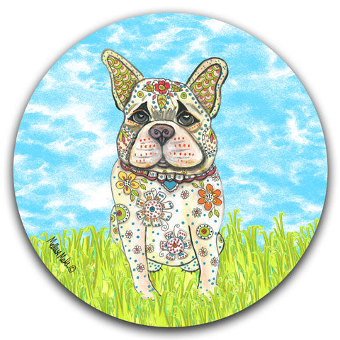 """French Bulldog at the Park"" Car Coaster by Mellissa Meeks"