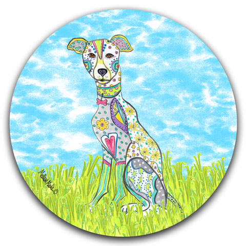 """Greyhound at the Park"" Car Coaster by Mellissa Meeks"