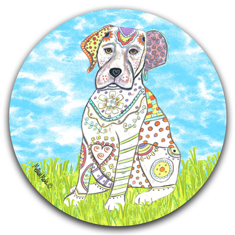 """Labrador Retriever at the Park"" Car Coaster by Mellissa Meeks"