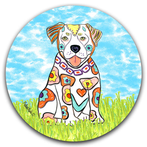 """Pit Bull at the Park"" Car Coaster by Mellissa Meeks"